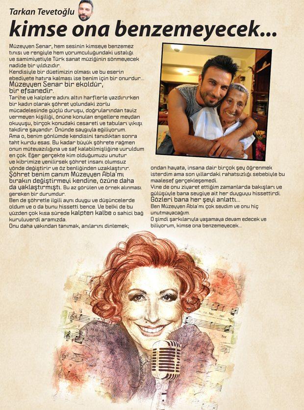 Tarkan 'Kafa' dergisine Müzeyyen Senar'ı anlattı